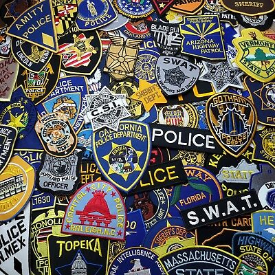 US POLICE PATCHES - Full Size Embroidered Iron-On Patch Series, 80+ DESIGNS!