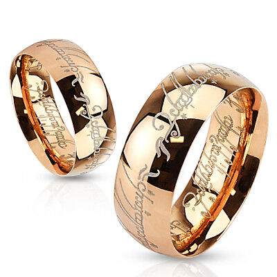 Lord Laser Etched Rose Gold IP Surgical Stainless Steel Band Ring