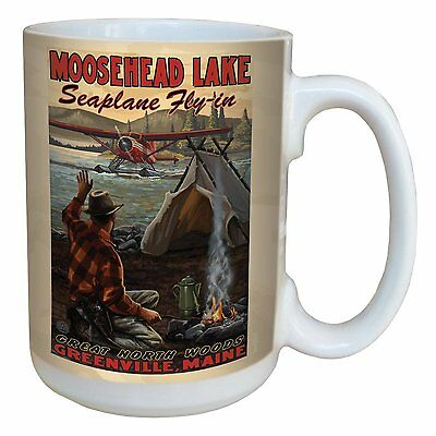 Ceramic Mug w/Full-Size Handle, 15oz, Tree-Free, LM43317 Moosehead Lake Maine