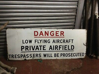 Large Vintage Original Airfield Airport Warning enamel sign Interior Design Bar