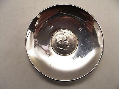 Silver Dish With Churchill Coin In Middle London 1978 Ref 71/7