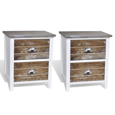 Pair Bedside Tables Nightstand Chest Of Drawers Lamp Bedroom Cabinet Wood White