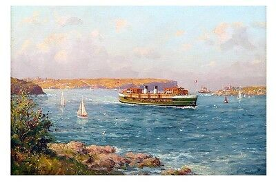 SOUTH STEYNE Sydney Ferry 1930s Art by J Allcot modern digital Postcard