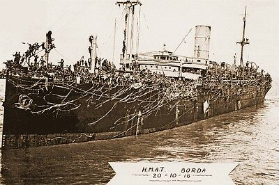 BORDA as Australian Troopship HMAT A30 WW1 P & O Line modern Digital Postcard