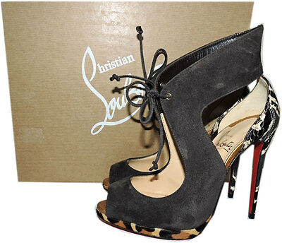 0613aa62bed NEW CHRISTIAN LOUBOUTIN Ferme Rouge 100 Black Patent Glitter Heels ...