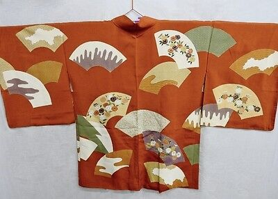 Vintage Japanese Ladies' Rust Silk Blend 'Fans Design' Kimono Haori Jacket M/L