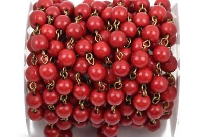 13ft RED Howlite Rosary Chain, bronze, 6mm round stone beads, fch0486b