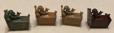 R&L CEREAL TOY ~ CRAZY CAMEL TRAIN 1969, 4 x BED MONKEYS! RARE, AUSSIE KELLOGGS