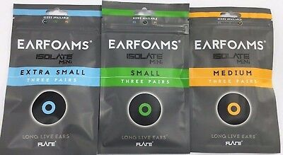 Isolate EarFoams 3 pack for Standard and Mini size Ear Plugs from Flare Earplugs