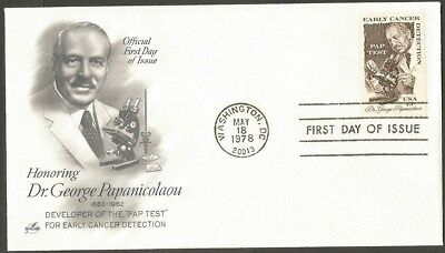 Us Fdc 1978 Dr George Papanicolaou 13C Stamp Ac First Day Of Issue Cover