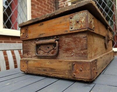 Nice old industrial wooden box with handles and metal corners