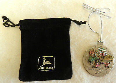 #jd2 1997 John Deere Pewter Christmas Ornament With Pouch