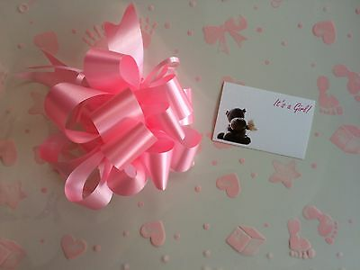 Cellophane gift wrap 2m x 80 cm-Pink New Baby Birth Girl FREE PULL BOW & CARD