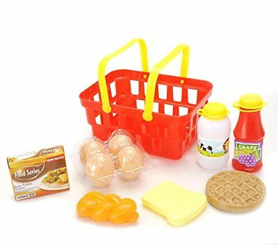 AMPERSAND SHOPS Toy Pretend Play Breakfast & Lunch Play Food Set With Basket