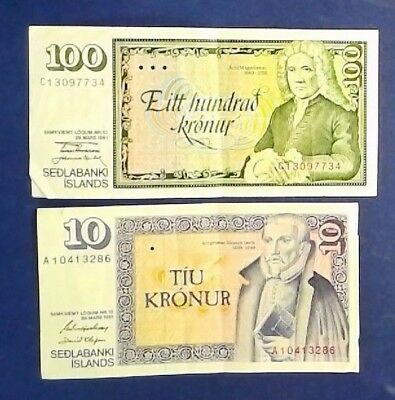 ICELAND: Set of 2 Kronur Banknotes  - Very Fine Condition