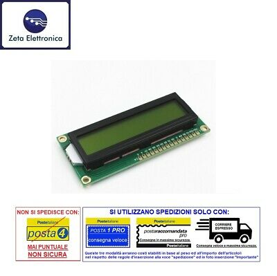Display LCD alphanumeric 16x2 hd44780 Arduino backlit LED GREEN