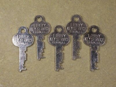 5 Vintage Flat Steel Keys Trunk Padlock Chest Antique Lock Box Desk Cabinet Key