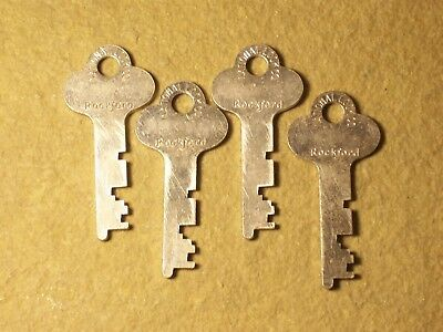 4 Same Vintage Flat Steel Keys Trunk Padlock  Antique Lock Box Desk Cabinet Key