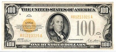 1928 $100 Gold Certificate, Fr. 2405, Very Fine (VF-25) Condition