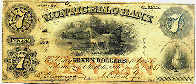 Civil War 1861 Confederate Currency Seven Dollars Monticello Bank Virginia