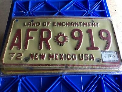 1972 New Mexico License Plate AFR 919