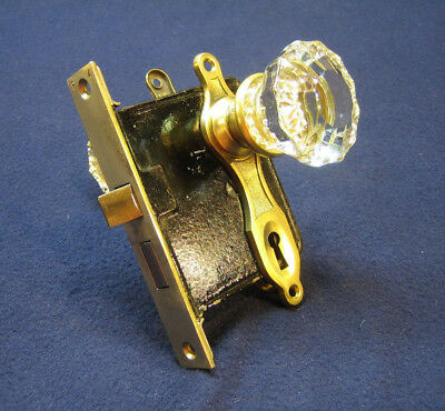 Antique Victorian Mortise Door Lock 12 Point Crystal Knobs Classic Brass Plates