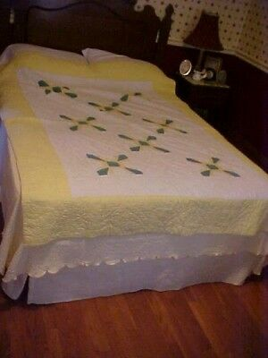 Vintage PIECED QUILT,PINWHEEL,, YELLOW & GREEN