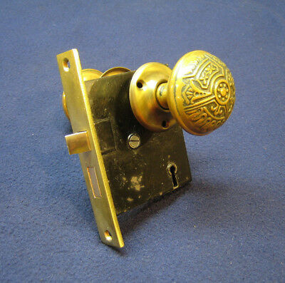 Beautiful Antique Victorian Mortise Door Lock Eastlake Ornate Copper Brass Knobs