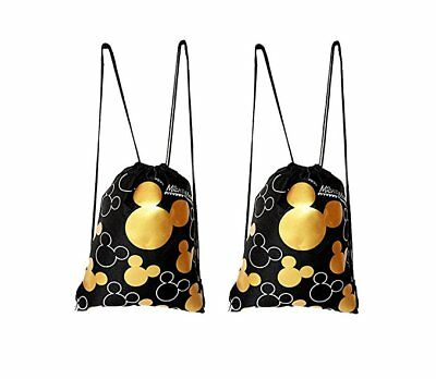 Disney Mickey Mouse Drawstring Backpacks  2 PACK Gold