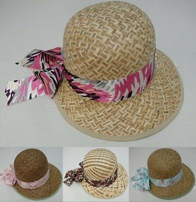 12 Brand New Ladies Straw Summer Hats With Printed Ribbon And Bow Wholesale