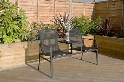 Charles Bentley 2 Seater Textilene Mesh Companion Set Seat Outdoor Bench