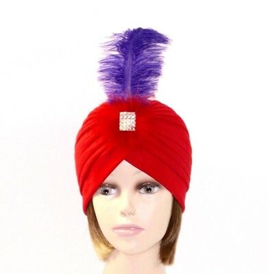 d696880f39e Jeweled Red Hat Turban Purple Ostrich Plume Red Marabou Feather Society  Ladies