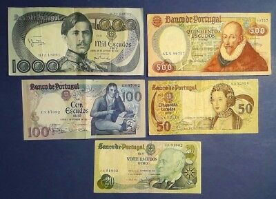 PORTUGAL: Set of 5 Banknotes Very Fine Condition
