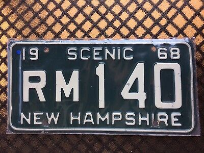 1968 New Hampshire License Plate Rm140