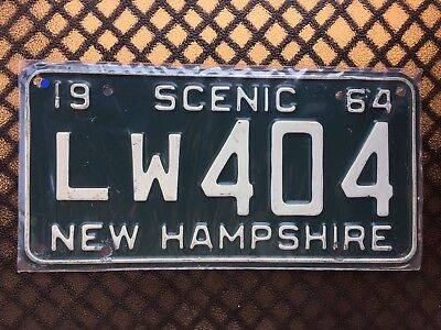 1964 New Hampshire License Plate Lw404