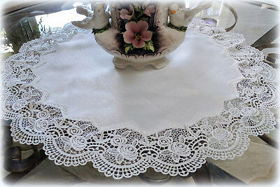 """Large Classic Rose Lace Doily European Round 23"""" Table Topper antique White"""