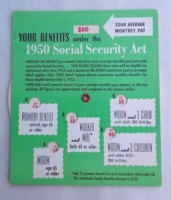 Vintage Social Security Act 1950 benefits cardboard computation wheel dial minty