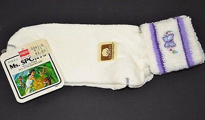Vtg Hanes Ms. Sports Soft TERRY CUFF Women's Athletic Ankle Socks PUR. BUTTERFLY