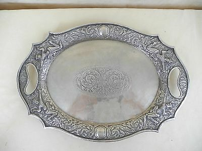 Antique Oriental or Southeast Asian Sterling Silver Figural Tray