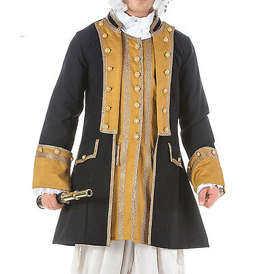 Commodore Pirate coat, S, M, L, XL, Metal Buttons, Captain, Cotton, Lining,