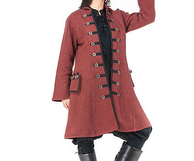 Womens Pirate coat, S, M, L, XL, Wooden Buttons, Captain, Cotton, Linen Lining,