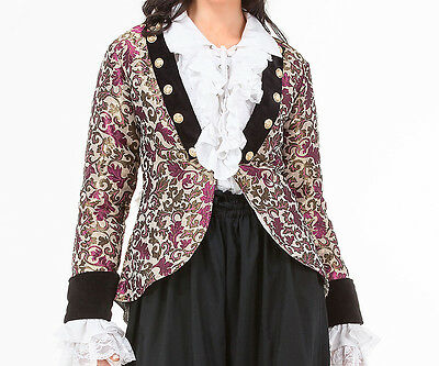 Womens Brocade Pirate coat, S, M, L, XL, Steampunk, Metal Buttons, Cotton