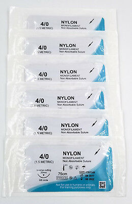 4/0 Training Sutures Nylon Monofilament, Pack of 6