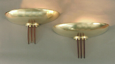 Sublime Solid Brass French Art Deco/Moderne Wall sconces with Peach Glass Fins!