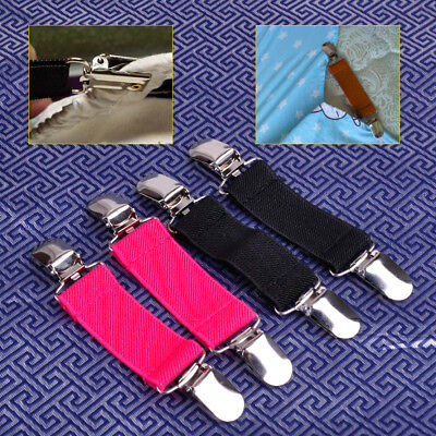 New 2x Stretch Dress Cinch Clip Bed Sheet Fasteners Strap Holder Clasp Gripper