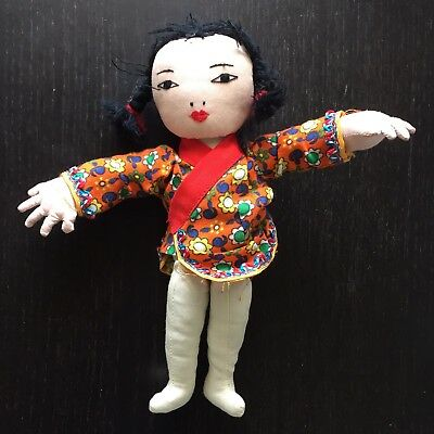 Fine Old Chinese Sewn Handmade Girl Doll w Original Clothes Baby Toy Art NR