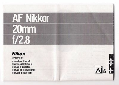 Genuine Nikon AF Nikkor 20mm f/2.8 Instruction Manual
