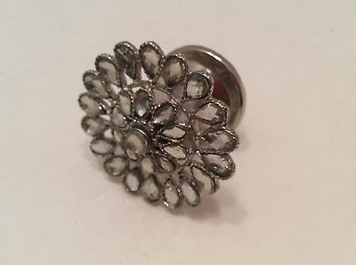Antique Vintage Style Glass Cabinet Knob Pull Clear Round Flower Pattern