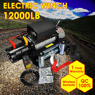 12000lb 12V Electric Winch Heavy Duty Recovery With Wireless Remote Control ATV