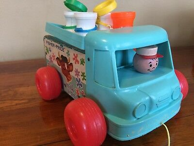 1965 Fisher Price Milk Wagon Wooden Truck With 4 Bottles